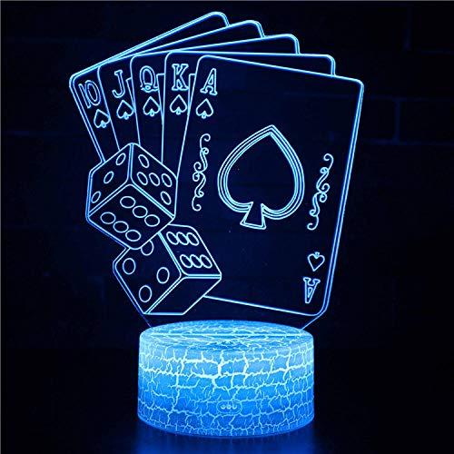 tische Nachtlicht Karten Spielen 7 Farben Erstaunliche Optische Täuschung Die Schlafzimmer-Dekoration Für Kinder Weihnachten Halloween-Geburtstagsgeschenk Beleuchten ()