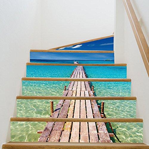 escaleras pegatinas 3D villas etiquetas autoadhesivas bricolaje fijados escalera reformado resistente al agua (18x100cm * 6pcs)