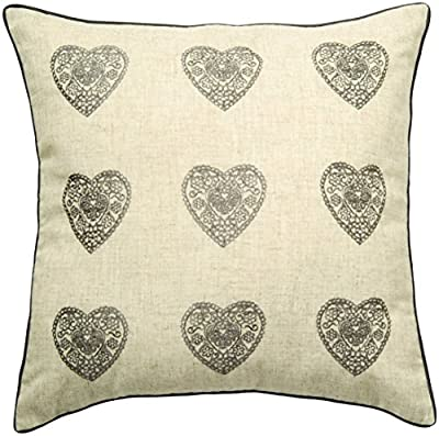 Catherine Lansfield Home Vintage Hearts Cushion Cover, Silver, 45 x 45 Cm - low-cost UK light store.