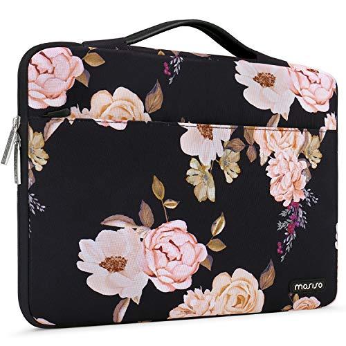 MOSISO 360 Schutz Laptop Aktentasche Handtasche Kompatibel mit 13-13,3 Zoll MacBook Pro, MacBook Air, Notebook mit Hinten Trolley Gürtel, Polyester Stoßfeste Sleeve Hülle Tasche, Rosa Pfingstrose