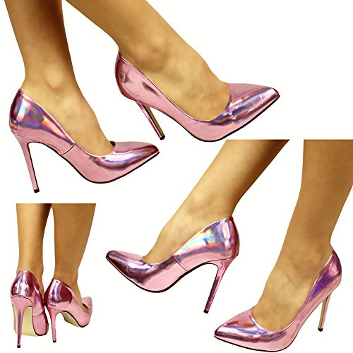 Damen Lack Schuhe Luxus Party Pumps High Heels Stilettos (37, Violett)