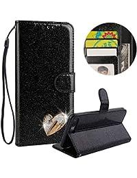 Preisvergleich für Gürt Strass Brieftasche Hülle für iPhone 8 Plus,Schwarz Glitzer PU Leder Handyhülle für iPhone 7 Plus,Moiky Luxus...