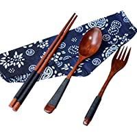 STRIR Japanese Vintage Wooden Chopsticks Spoon Fork Tableware 3pcs Set New Gift,Generic japonés de madera natural Palillos Cuchara Tenedor Vajilla
