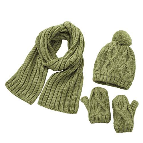 ZZBO Cap Kinder 1-6 Jahre Beanie Mütze Strickmütze Baby Unisex Wintermütze Schal Set Soft Wärme und Bequeme Kappe Cute Kopfbedeckung mit Bommeln