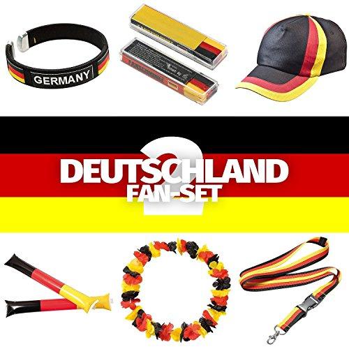 STYLETEC Fanset für Deutschland - Fanartikel für die WM 2018 Fanset 6 Teile für Public Viewing Partyabend - Fan-Schminke, Armband, Cap, Klopfschlauch, Blumenkette & Schlüsselbund