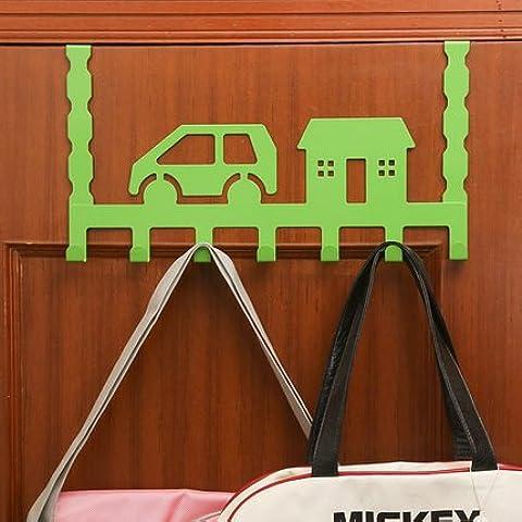 Dopo il cancello di ferro vestigia ganci non sono potenti stenditoi bagno gancio di sospensione della porta dal gancio al fiocco gancio appendiabiti 7 , verde auto