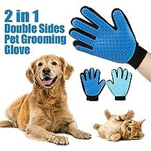 Hommii masaje guante depiladora 2 lados del gato del perro de aseo de aseo deShedding ligero de OSCURO azul