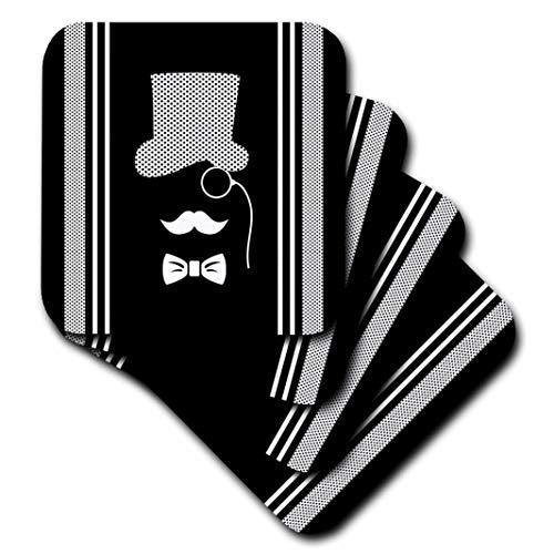 Russ Billington Designs-Schwarz und Weiß Gent mit Monokel und Polkadot Streifen-Untersetzer, keramik, schwarz, set-of-4-Ceramic (Schwarzen Dot Polka Und Weißen Tassen)