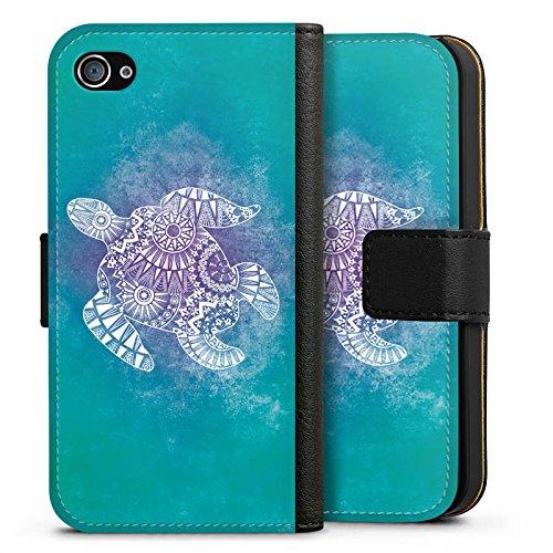 Apple iPhone SE Tasche Hülle Flip Case Mandala Turtle Schildkröte Muster Sideflip Tasche schwarz