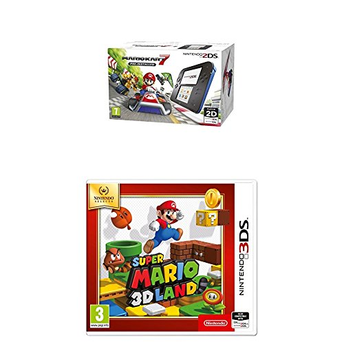 Nintendo Handheld Console - Black/Blue 2DS with Pre-installed Mario Kart 7