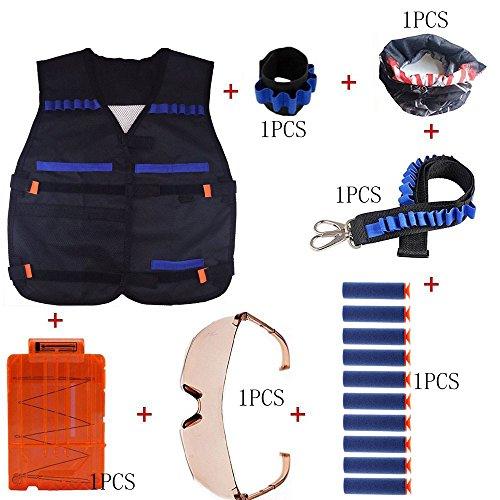 Kinder taktische Weste-Jacken-Installationssatz (1pcs taktische Weste + 1pcs Wrister + 1pcs Gesichtsmaske + 1pcs Gewehrkugel-Band-Bandolier + 1pcs schützende Schutzbrillen + 10pcs blaue Schaum-Dart + 1 PC 5-Dart schnellen Wiederaufladeclip) für Nerf Spielzeug-Gewehr N-Schlag Elite-Reihe