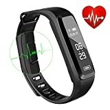 WitMoving Fitness Tracker, New Sport Water Resistant Smart Bracelet Wristband Watch with Heart Rate Monitor Pedometer Touchscreen for iPhone Samsung IOS Android Smartphones (Black)