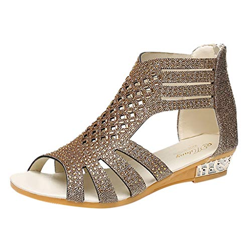 Makefortune-Damenschuhe Frauen bequem Ausgeschnitten niedrigen Ferse Sommer Gladiator Walking Sandale Glitter Strass Peep Toe Wedge Sandale mit Reißverschluss Guess Peep Toe Wedges