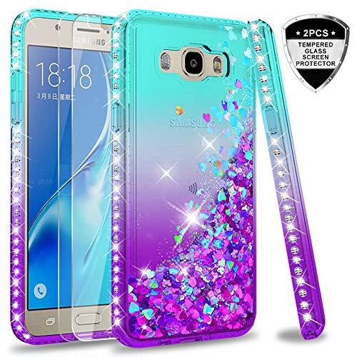 LeYi Coque Galaxy J5 2016 avec Verre Trempé [Lot de 2], Fille Personnalisé Liquide Paillette Transparente 3D Silicone Gel Antichoc Kawaii Étui pour Samsung Galaxy J5 2016 J510 Bleu Violet