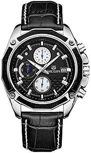 Megir Mens Quartz Watch, Chronograph Display and Leather Strap - 2015G