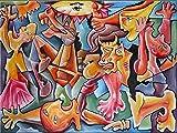 Pintura Grande Lienzo al Óleo Arte Abstracto Moderno 'LA LUCHA' por DOBOS, Cuadro Original para Decoración...