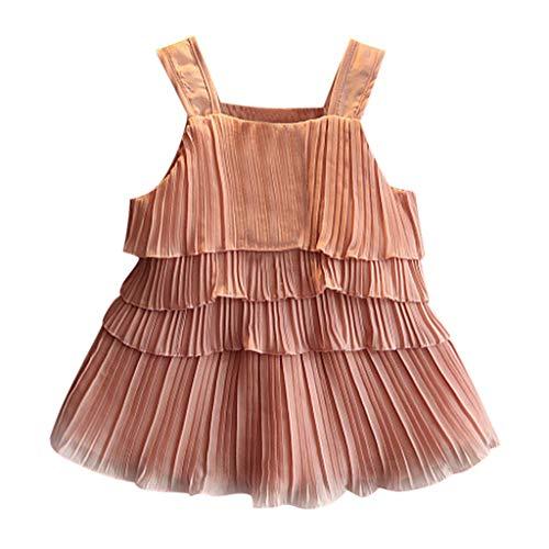 IZHH MäDchen Weste T-Shirt Tops + Kurzen Rock Set Mehrschichtiges GekräUseltes TräGershirt-Set Kleinkind Kinder Baby MäDchen Outfits Kleidung RüSchen ()