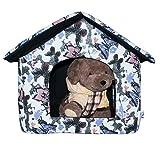 LOVE PET - Caseta de Tela Plegable/ Cuna Perro/ Habitación Portátil/ Nido Mascota para Perros, Gatos con forma de casa (motivo mariposas, XL)
