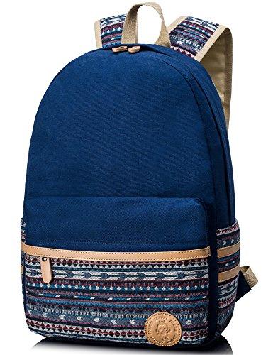 Leaper Sac à dos Scolaire Cartable fille sac d'école sac loisirs sac porté épaule toile school backpack style coréen bleu militaire