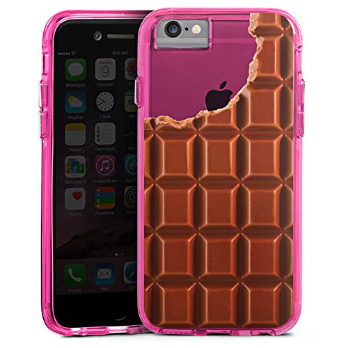 Apple iPhone 6s Plus Bumper Hülle Bumper Case Glitzer Hülle Transparent mit Motiv Schokolade Essen Bumper Case transparent pink