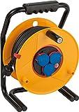 Brennenstuhl Brobusta Bretec IP44 Gewerbe-/Baustellen-Kabeltrommel (40m - Spezialkunststoff, Baustelleneinsatz und Einsatz im Außenbereich, Made In Germany) gelb