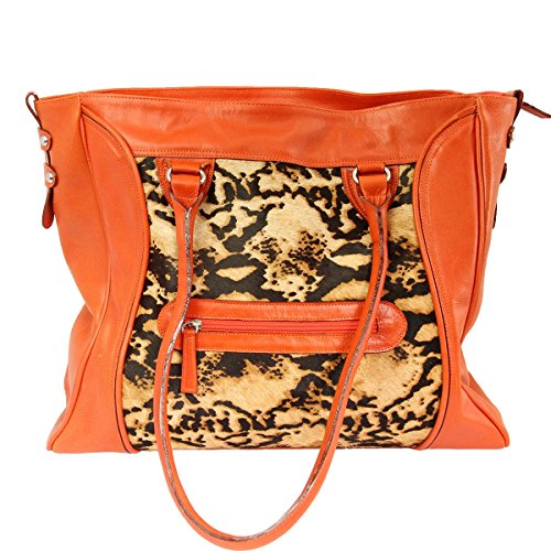 le-sak-premium-italian-leather-tote-with-faux-fur-ripe-papaya-with-wildcat-print
