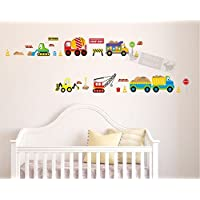 DecoBay Boys Room Wall Stickers Cars Trucks Crane and Diggers Boys Room Construction Sites Nursery Wall Stickers