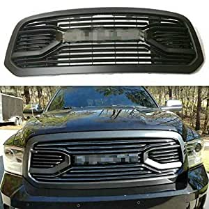W//Silver Letters Jie Norman Front Grill for Dodge RAM 1500 2013-2018 Upper Bumper Grille Matte Black Big Horn Horizontal Style