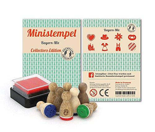 Ministempel - 8 Stück - Bayern Mix; Witzige kleine Holz Stempel mit Farbe für Bayernfans; Holzstempel Set zum Verzieren von Einladungskarten, Tischkarten und vielem mehr