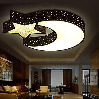 Ancernow Creative Einfach Warm Deckenleuchten Stern Mond LED Romantische  Cartoon Junge Kinder Schwarz 55*7cm Deckenleuchte Für Schlafzimmer,  Esszimmer, ...