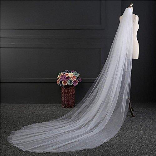 Eine Tier-soft-tüll Hochzeit Schleier (Einfach Brautschleier 3M Lange Weiß Elfenbein Braut Schleier Tüll Billig Eine Schicht Schneiden Rand Hochzeit Zubehör , Ivory)