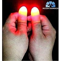 Trucos de Magia -Magia con Luces Rojas que aparecerán y desaparecerán en tus manos. Nuevo sistema mejorado. Dos pulgares Luminosos trucos de magia para adultos. Incluye link a video (ROJOS)