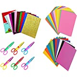 LOGGAS Plastic A4 Glitter Eva Foam Sheets with Design Scissors (Multicolour) - Set of 30