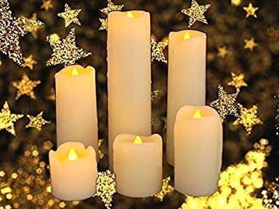 Express Trading ® SET OF 6 LED FLICKERING REAL WAX CANDLES WITH DRIP EFFECT BATTERY OPERATED