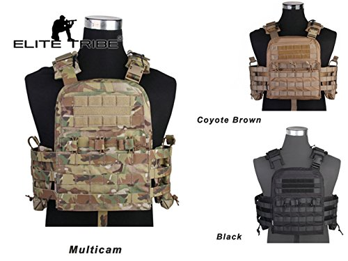 eLITe Jagd Tactical Weste, Airsoft Combat Body Armor NCPC Cherry Plate Carrier, Coyote Brown -