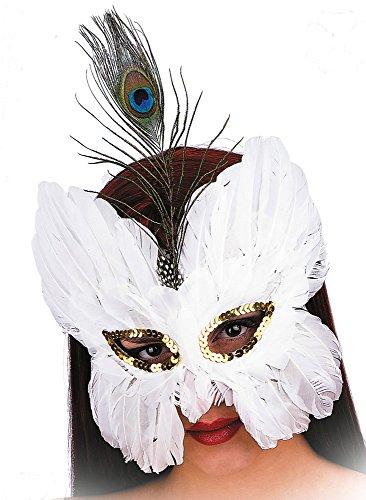 Wundervolle weisse Federn-Maske -Karneval, venezianisch Fasching, Maskenball