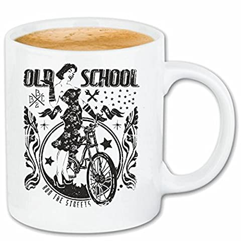 "tasse à café ""OLD SCHOOL BICYCLE RETRO LADIES BIKE RACING TOUR VTT Cyclo VTT RÉPARATION CYCLISME SPORT BIKE TOUR VELO SHIRT"" Céramique 330 ml en blanc"