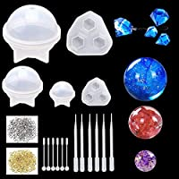 AFASOES 5Pcs Resin Casting Moulds Kits Silicon Mould Spherical Diamond Shaped Transparent Silicone Jewelry Moulds with Drip Irrigation/Agitator/Screw for DIY Craft/Bracelet/Ring Making