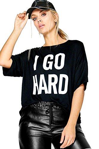 Noir Femmes plus caitlin t-shirt à slogan «i go hard» Noir
