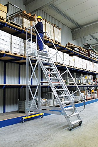 Günzburger Steigtechnik Al-Plattform-Treppe,fahrbar,60°,13Stufen
