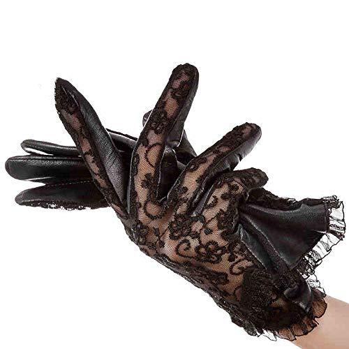 Agelec Spitze Handschuhe weibliche dünne Abschnitt war dünn Schaffell weibliche große Größe Lederhandschuhe Sommer atmungsaktiv Reiten Sonnencreme Handschuh (Größe : M)