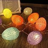 Yonfan 30er LED Globe Ostern Lichterkette Batteriebetrieben Lichterkette Bunt LED für Ostern Zimmer Draussen Innen Hochzeit 4,8 M