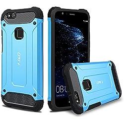 J&D Compatible pour Coque Huawei P10 Lite, [ArmorBox] [Double Couche] Coque de Protection Robuste Antichoc et Hybride pour Huawei P10 Lite - [Pas pour Huawei P10/Huawei P10 Plus] - Bleu