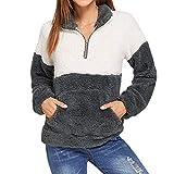 SEWORLD Heißer Einzigartiges Design Mode Damen Frauen Leopard Winter Warm Langärmliges Sweatshirt Warmer Zip Fuzzy Hoodie Pullover(X3-weiß,EU-32/CN-S)