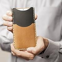 Marrone chiaro et Nero custodia a guscio per iPhone 8 Plus, 7 Plus , 6/6s Plus in cuoio con 1 porta carta di credito e banconote verticale portacellulare cover case caso