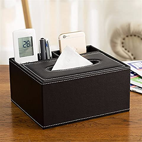 Outside The House Household Leather Multifunctional Tissue Box Coffee Table Remote Control Storage Box Napkin Drawer Creative European Style, F, 20.5 * 18 * 10Cm