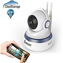 Cámara de Seguridad IP WiFi CORPRIT con Almacenamiento en la Nube, Cámara de Videovigilancia HD 720p con P2P, Audio bidireccional, IR-CUT, Visión Nocturna, Alerta de detección de movimiento
