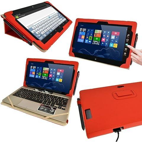 igadgitz Rojo 'Portfolio' Eco-Piel Case Cover para Asus Vivo Tab TF810C TF810 11.6