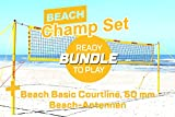 Funtec Bundle: Beach Champ Set + Beach Basic Courtline (50 mm) + Netzantennen