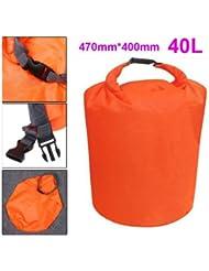 Dcolor 40L Bolso Seco Impermeable de Terylene para Canoa Kayac Embalsar Acampar - Naranja
